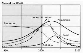 diagram prediksi kondisi masa depan dunia terkait pemakaian unrenewable energi dari kubuh pesimis